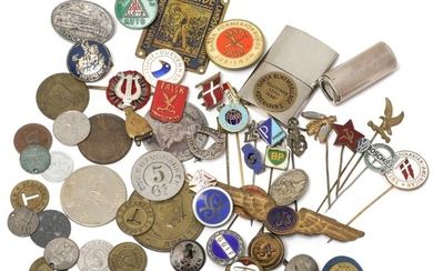 Collection of various pins, needles, love tokens, medals, money holders, etc. from Denmark, Rusia, Sweden and Germany, etc.
