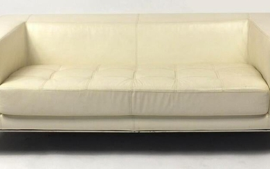Contemporary cream leather two seater settee with