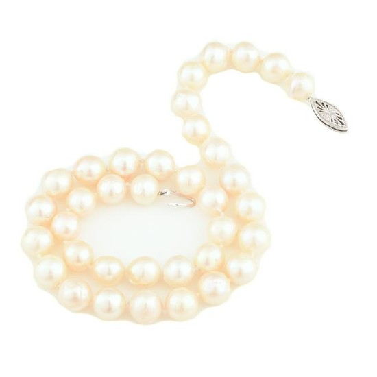 Cultured Pearl, Diamond, 14k White Gold Necklace.
