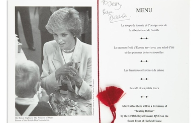 "DIANA; PRINCESS OF WALES. Menu for the benefit dinner held by the British Deaf Association on July 18, 1990, Signed and Inscribed: ""To"