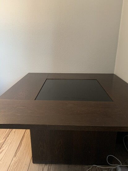 NOT SOLD. Danish furniture design: Square oak coffee table with built-in bar. Top of formica....