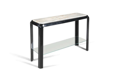 Description CONSOLE A BLACK LACQUERED CONSOLE, with a marble...