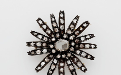 Diamonds flower-shaped brooch-pendant, 19th Century.