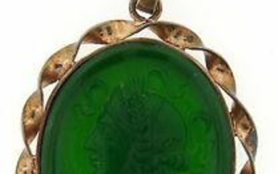 ELEGANT Victorian Silver & Carved Glass Cameo Pendant