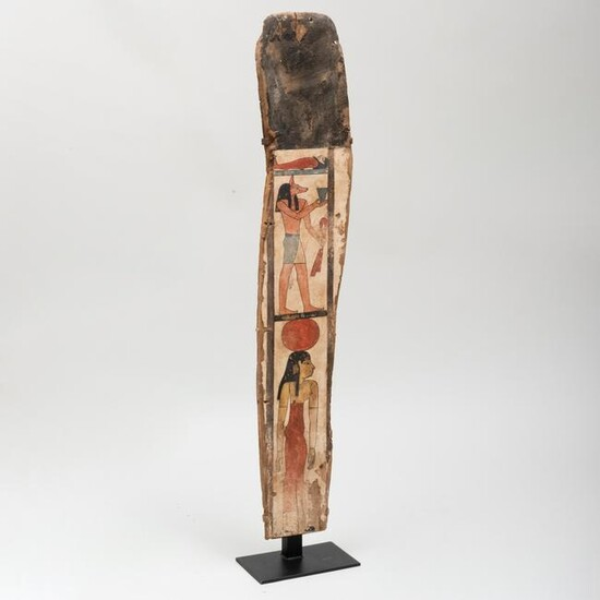 Egyptian Painted Wood Sarcophagus Panel with Anubis and