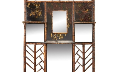 English School Chinoiserie Bamboo Mirror, late 19th century Painted...
