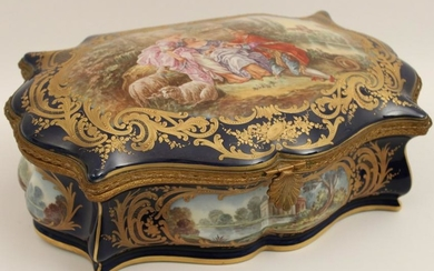 FINE FRENCH SEVRES STYLE GILT BRONZE AND PORCELAIN BOX