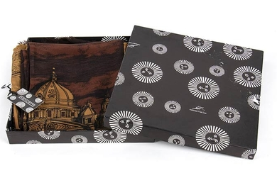 FORNASETTI WOOL AND SILK SCARF 80s Wool/silk scarf, Rome skyline...