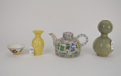 FOUR CHINESE POTTERY VESSELS - Lot includes: a