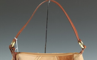 FRANCO SARTO BROWN AND BEIGE SUEDE BAG WITH TAN AND...