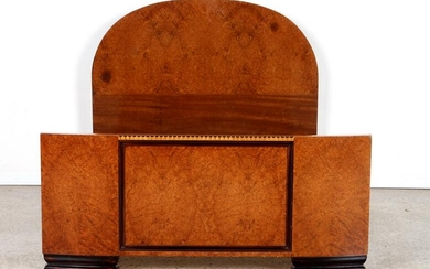 FRENCH BURL WOOD ART DECO FULL SIZE BED C.1920