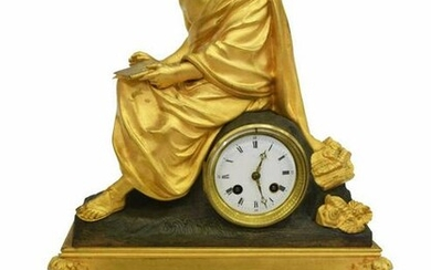 FRENCH EMPIRE STYLE FIGURAL GILT MANTEL CLOCK