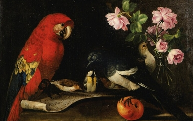 FRENCH SCHOOL, IN THE MANNER OF THE 18TH CENTURY | STILL-LIFE WITH A PARROT AND A VASE WITH ROSES
