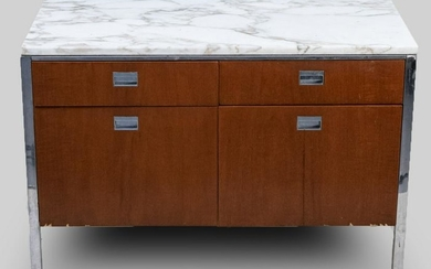 Florence Knoll Style Marble Top Side Cabinet