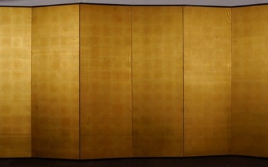Folding screen, PARAVENT - Spectaculaire paravent recouvert de feuille d'or - FEUILLE D'OR SUR SOIE - Japan - Mid 20th century