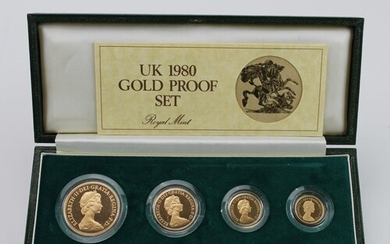 Four coin set 1980 (Five Pounds, Two Pounds, Sovereign & Hal...