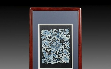 Framed Chinese Embroidery on Silk Panel