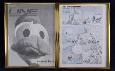 Framed Vintage Donald Duck Magazine Page Clippings Lot
