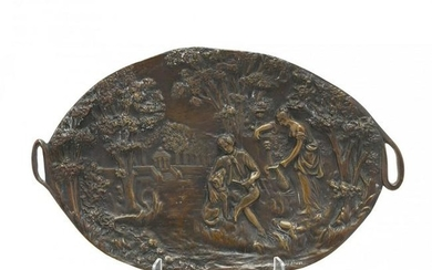 French Bronze Figural Tray