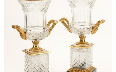 French Cut Crystal Urns with Bronze Mounts and