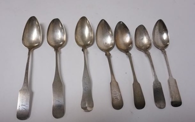 GRP OF 7 COIN SILVER SERVING SPOONS VARIOUS MAKERS