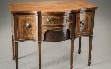 George III Style Satinwood Inlaid Mahogany Serpentine Small Sideboard Late 19th Century