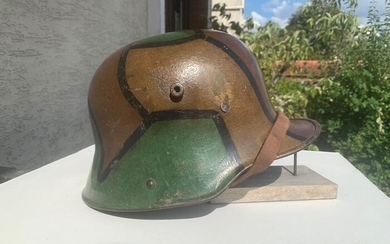 Germany - Stahlhelm model 1916 helmet painted in autumnal tones camouflage WWI leather interior chin strap