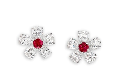 Graff, A Pair of Ruby and Diamond 'Flower' Earrings, Graff