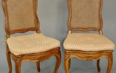 Group of Nine Louis XV Side Chairs, carved beechwood