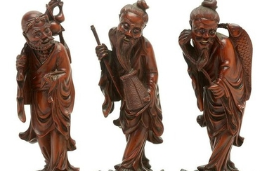 Group of Three Finely Carved Box with Base.
