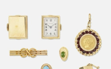 Group of vintage gold jewelry