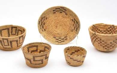 Grouping of 5 Native American Coiled Baskets