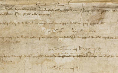Huntingdonshire.- Court Roll relating to Huntingdon, manuscript in Latin, on vellum, 2 membranes, 1413; sold subject to the Manorial Documents Rules, this item may not be removed from England & Wales.