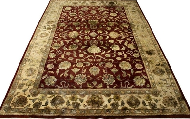 INDIAN WOOL & SILK CARPET, W 10', L 14'