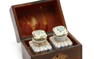 Inlaid French Tea Caddy with Two Lidded Jars