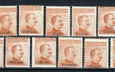 Italian Aegean Islands - general issues 1917 - 20 cents, orange, tour of the islands, with Rhodes, 13 values - Sassone N. 9 - Rodi N. 10