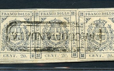 Italian Ancient States - Modena 1859 - Savoy coat of arms, 20 c. slate on fragment - Sassone N. 15