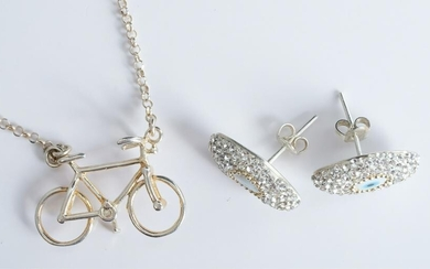 Italian Designer Sterling Silver Bike Necklace