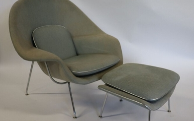 Knoll Signed Saarinen Womb Chair And Ottoman.