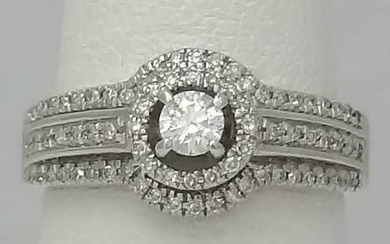 LADIES 14k WHITE GOLD THREE ROW 1/2ct ROUND DIAMOND