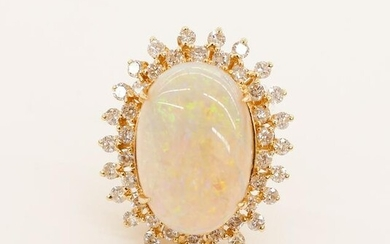 Lady's 11.95ct Opal & Diamond 14k Starburst Ring