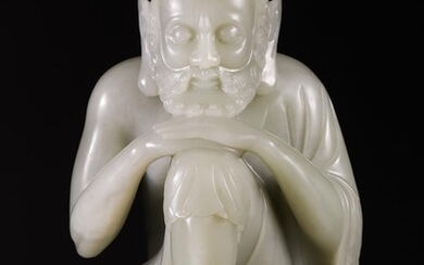 Large Chinese Celadon Jade Figure of a Seated Ascetic, 20th Century CCW1C
