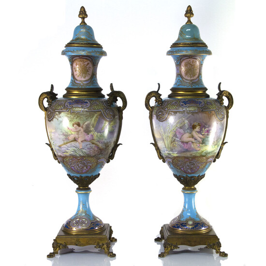 Large and Impressive Pair of French Porcelain and Bronze Sevres Style Urns, 19th Century.