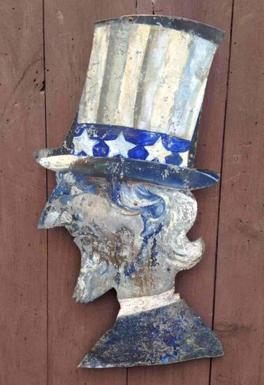 Late 19thc zinc Uncle Sam with old worn paint