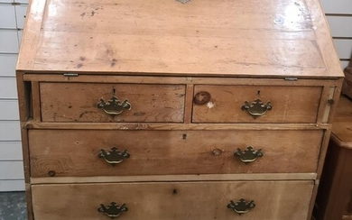 Late 19th/early 20th century pine bureau with two short over...
