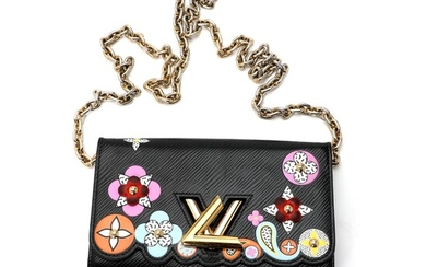 """Louis Vuitton: A """"Twist Blossom"""" wallet on a chain bag made of black Epi leather..."""