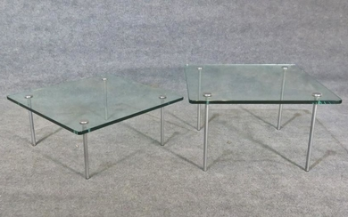 MID CENTURY MODERN GLASS TOP END TABLE & COFFEE TABLE