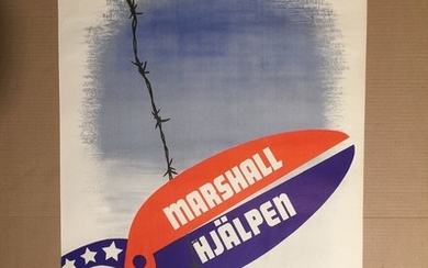 """Marshall Hjælpen"". Signed in the print Gusta Aberg. Lithograph poster in colours, circa 1947. 75×55 cm."