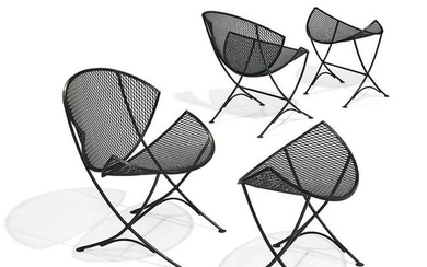 Maurizio Tempestini chairs and ottomans, pair