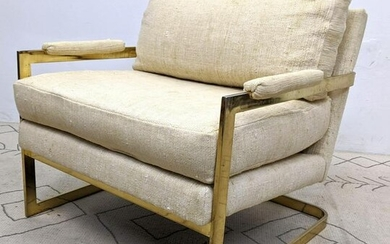 Mid Century Modern Gold Tone Cantilever Lounge Chair.